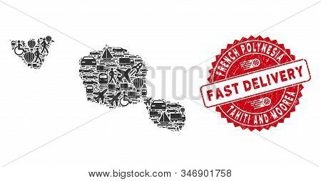 Transportation Collage Tahiti And Moorea Islands Map And Grunge Stamp Watermark With Fast Delivery T