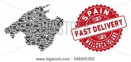 Delivery Collage Spain Mallorca Island Map And Rubber Stamp Seal With Fast Delivery Words. Spain Mal