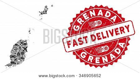 Delivery Mosaic Grenada Map And Distressed Stamp Seal With Fast Delivery Words. Grenada Map Collage