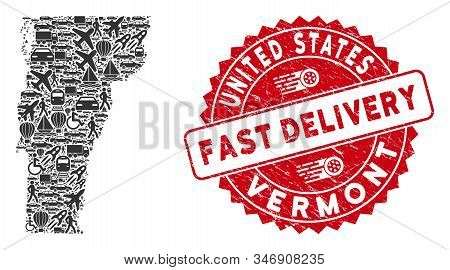 Travel Collage Vermont State Map And Grunge Stamp Seal With Fast Delivery Words. Vermont State Map C