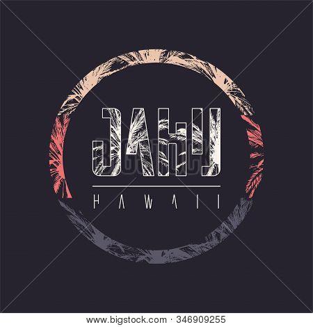 Oahu Hawaii Vector Graphic T-shirt Design, Poster, Print
