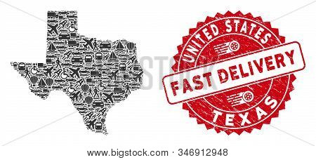 Transport Collage Texas Map And Corroded Stamp Watermark With Fast Delivery Words. Texas Map Collage