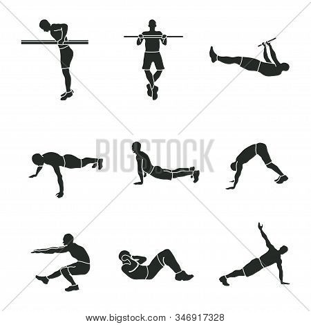 Sports Exercise, A Set Of Sports Icons, Silhouettes Of Athletes, Sports Exercise Symbol Piktograma