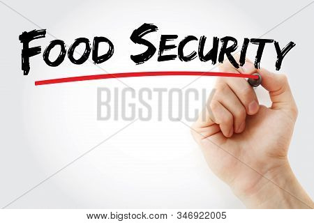 Food Security Text With Marker, Concept Background