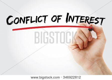 Conflict Of Interest Text With Marker, Concept Background