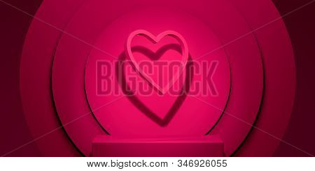 Showcase With Heart On Pink Background. 3d Rendering. Saint Valentine Day Celebration Concept.