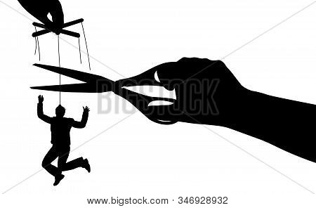 Free From Manipulation. Puppet. Human Manipulation. Exemption From Slavery. Silhouette Vector Illust