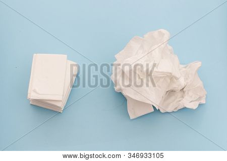 Used And New Tissues On Blue Background. Concept Of Sick, Flu And Cold, Crying, Untidy, Masturbation
