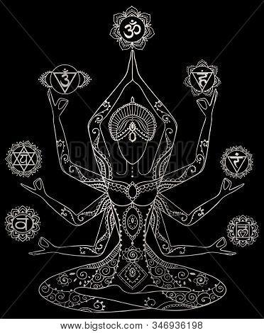 Yoga Kundalini Healing Silver Metallic Chakras Mindfulness Spiritual Meditation Mantra Illustration