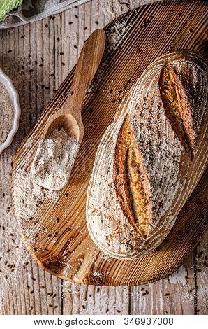 Delicious homemade caraway bread, homemade sourdough bread poster