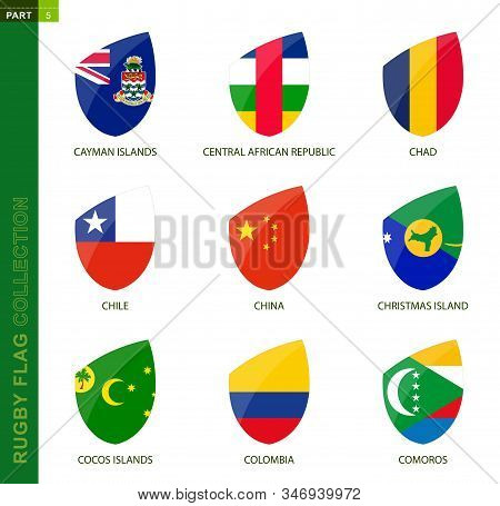 Rugby Flag Collection. Rugby Icon With Flag Of 9 Countries: Cayman Islands, Central African Republic