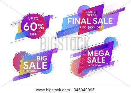 Set Of Colored Stickers And Sale Banners.  Discount Up To 60% Off.  Trendy Minimal Design As Templat