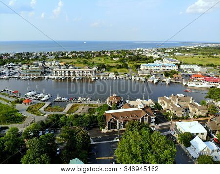 Lewes, Delaware, U.s.a - June 2, 2019 - The Aerial View Of The Beach Town, Fishing Port And Waterfro