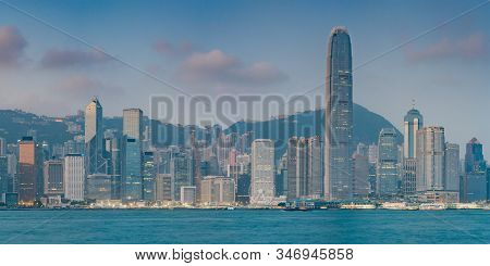 Victoria Harbor, Hong Kong - December 11, 2016: Panorama View At A Famous Tourist Attraction