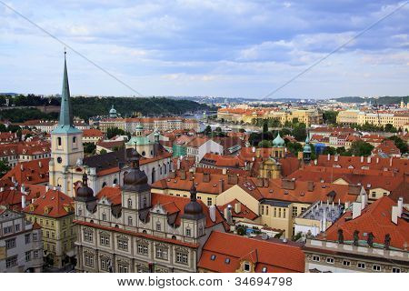View of Prague (as seen from Church of Saint Nicholas (Lesser Town), which was a secret observatory point during the communist regime)
