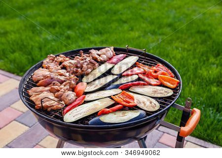 Making Barbeque, Having Lunch At The Nature. Assortment Various Barbecue Food Grill Meat, Bbq Party