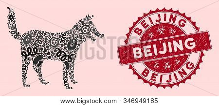Contagious Mosaic Dog Icon And Round Grunge Stamp Seal With Beijing Phrase. Mosaic Vector Is Created