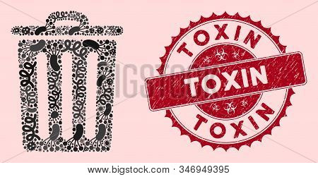 Epidemic Mosaic Dustbin Icon And Round Rubber Stamp Watermark With Toxin Phrase. Mosaic Vector Is De