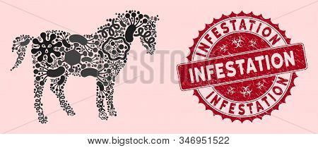 Infection Mosaic Horse Icon And Round Rubber Stamp Seal With Infestation Caption. Mosaic Vector Is D