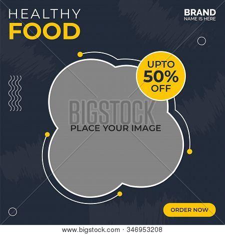 Super food vector social media post template, Delicious Food Social media post Design template for vector illustration Eps 10.