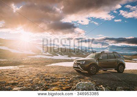 Aurlandsfjellet, Norway - June 13, 2019: Car Renault Duster Suv Parked Near Aurlandsfjellet Scenic R