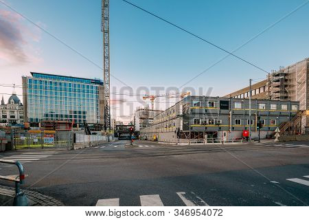 Oslo, Norway - June 23, 2019: Construction Trailers Are Mobile Structures Used To Accommodate Tempor
