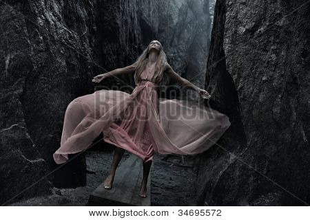 Sexy woman in pink dress