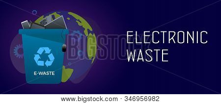Electronic Waste Management Horizontal Banner Concept - Waste Recycle Container Bin With Old Electro