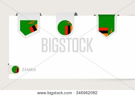 Label Flag Collection Of Zambia In Different Shape. Ribbon Flag Template Of Zambia Hanging From Pape