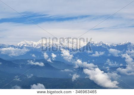 Kanchenjunga Mountain Landscape View From Darjeeling, West Bengal, India
