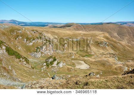 View Of Transalpina Tourist Highway And Plateau In Mountains Of Romania. Tourist Mountain Road. Autu