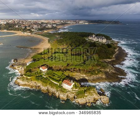 Aerial View Of The Magdalena Peninsula In Santander, Cantabria, Spain