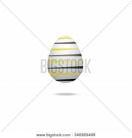 Color Vector Illustration Of A White Easter Egg With A Bumblebee Ornament, Black And Yellow Stripes.