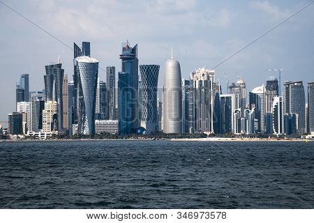 Doha, Qatar - Nov 21. 2019. View Of West Bay Doha Skyscrapers From The Persian Gulf