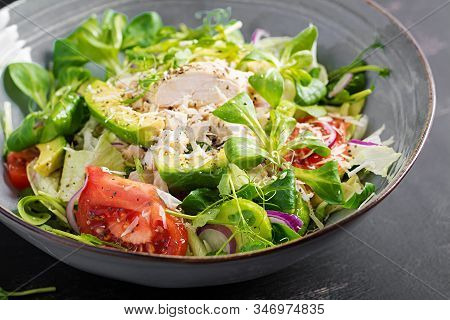 Fresh Salad With Chicken Breast, Corn Salad, Cucumber, Avocado And Tomato. Chicken Salad. Italian Cu