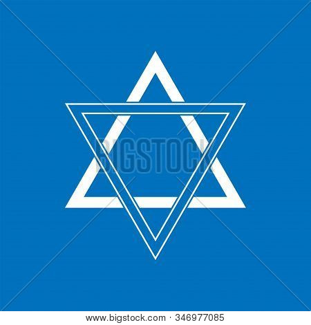 Blue Star Of David Icon. Generally Recognized Symbol Of Modern Jewish Identity And Judaism, Israel S