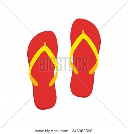 Colored Flipflops Icon. Slippers Icon. Vector Illustration Eps10.