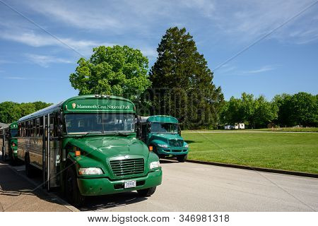 Mammoth Cave, United States: May 6, 2019: Mammoth Cave National Park Busses Take Tourists To Cave En