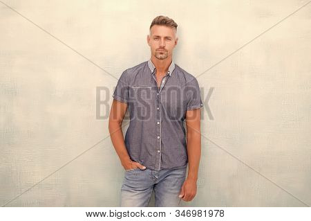 Posture Concept. Posture Has Huge Impact On Mental And Physical Health. Handsome Mature Man In Casua