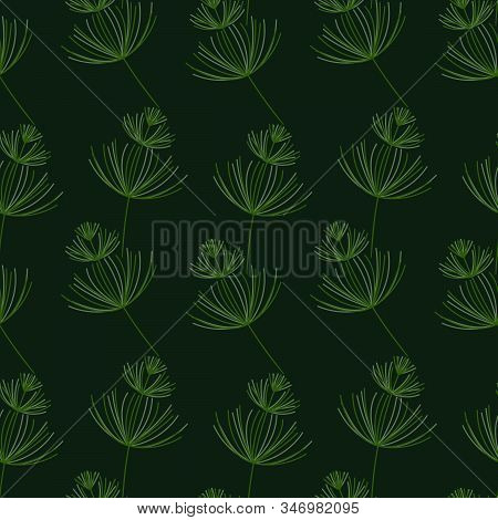 Seamless Botanical Pattern. Horsetail, A Medicinal Plant. Vector Hand-drawn Background For Surface D