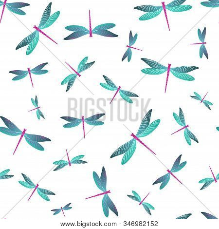 Dragonfly Colorful Seamless Pattern. Spring Dress Fabric Print With Flying Adder Insects. Graphic Wa