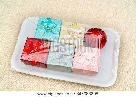 Boxes Gifts Celluloid Packaging. Christmas Holiday Set.
