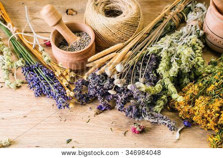 Harvesting Medicinal Herbs, Alternative Medicine, Ayurveda, Dried Flowers