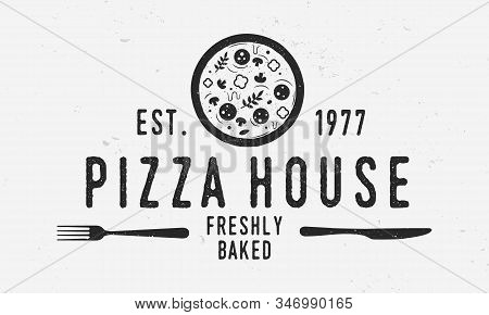 Pizza Vintage Logo. Pizza Restaurant Template Logo With Fork And Knife. Modern Design Poster. Label,