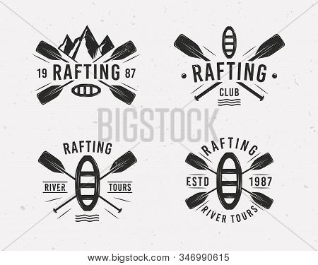 Rafting Logo Set With Raft, Crossed Paddles And Mountains Silhouettes. Vintage Typography. Vector Il