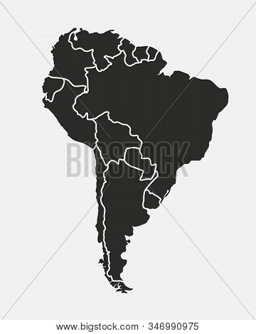 South America Map Isolated On A White Background. Latin America Background. Map Of South America Wit