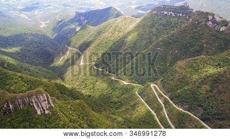Serra Do Rio Do Rastro, Santa Catarina, Brazil - January 6, 2020. View From The Top Made By Drone Fr
