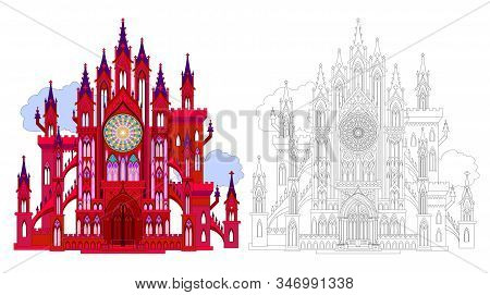 Colorful And Black And White Pattern For Coloring. Fantasy Illustration Of Ancient Medieval Gothic C