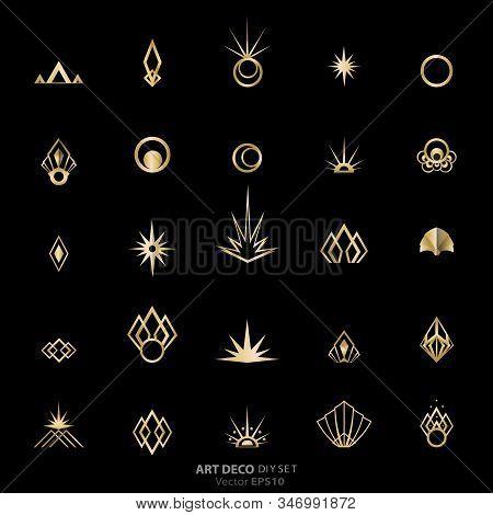 Art Deco/art Nuvo Diy Vector Golden Black Elegant  Set Of Objects