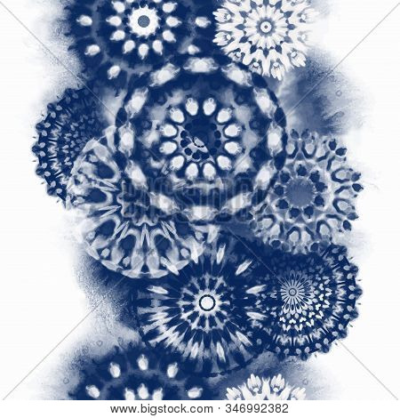 Seamless Pattern Shibori In Indigo Color. Digital Quilting Arts. Tie-dye. Tied And Dyed - Is A Manua